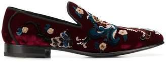 Alexander McQueen floral velvet loafers