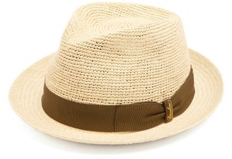 Borsalino - Woven And Crochet Straw Panama Hat - Mens - Khaki Multi