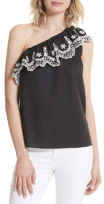 Kate Spade One-Shoulder Cutwork Top