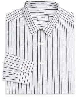 Ami Striped Smile Patch Button Down Shirt
