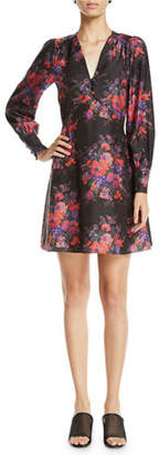 McQ Vintage Floral-Print Empire Short Dress