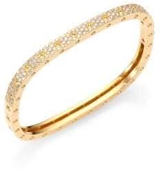 Roberto Coin Pois Moi Pave Diamond& 18K Yellow Gold Single-Row Bangle Bracelet