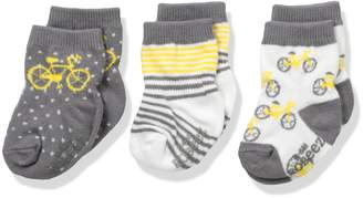 Robeez Boys' 3pk Crew Socks, Cotton and Spandex Blend with Non Skid Application