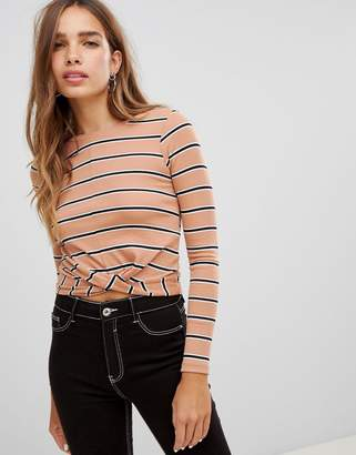 New Look Stripe Rib Twist Front Top