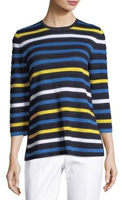 St. John Striped Knit 3/4-Sleeve Pullover Sweater