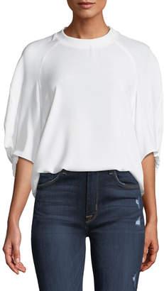 Tibi Savannah Crewneck Raglan Shirred-Sleeve Crepe Top