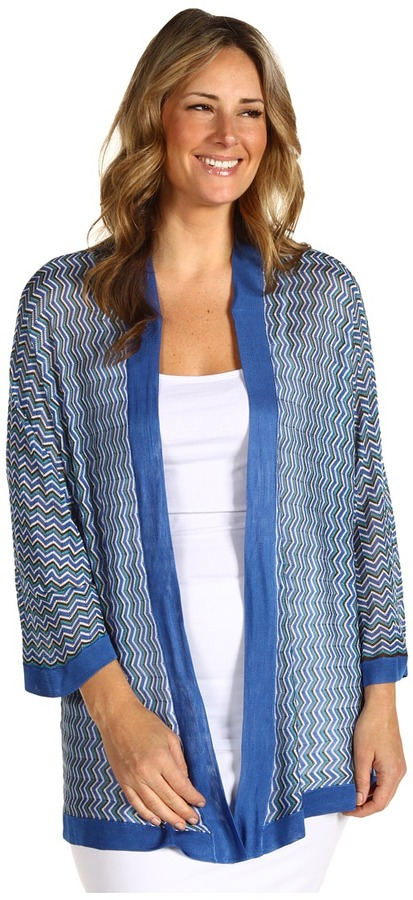 Klein Plus Anne Plus Size Zig-Zag Cardigan (Azul Multi) - Apparel