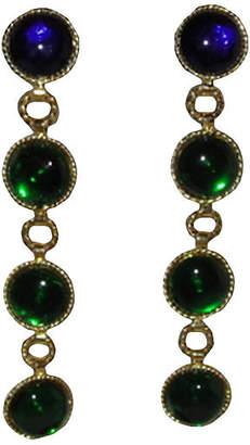 One Kings Lane Vintage Chanel Gripoix Glass Drop Earrings - Treasure Trove NYC