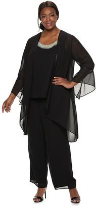Plus Size Maya Brooke Chiffion Duster Pant Suit