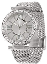 Steel by Design Stainless Steel Mesh Strap Watch with Crystal Bezel Design