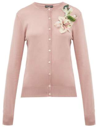 Dolce & Gabbana Lily Applique Silk Cardigan - Womens - Pink