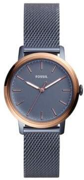Fossil Neely Three-Hand Blue Stainless Steel Mesh Bracelet Watch