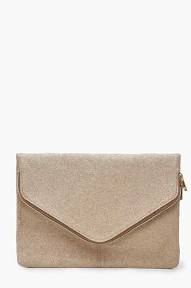 boohoo Shimmer Oversized Fold Over Clutch Bag