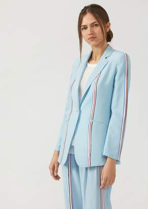 Emporio Armani Matte Satin Jacket With Striped Print