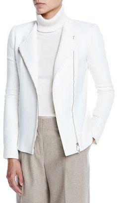 Lafayette 148 New York Austin Wool Moto Jacket, Cloud $748 thestylecure.com