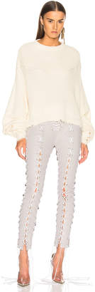 Unravel Waffle Knit Hybrid Crewneck Sweater