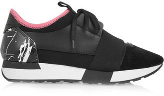Balenciaga - Race Runner Leather, Suede And Neoprene Sneakers - Black $655 thestylecure.com