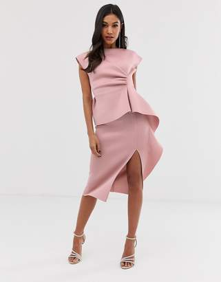 Asos Design DESIGN peplum pencil midi dress with tuck detail