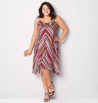 Avenue Multi Stripe Ruffle A-Line Dress