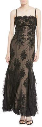 Aidan Mattox 3D Embellished Bustier Gown w/ Godet Inserts