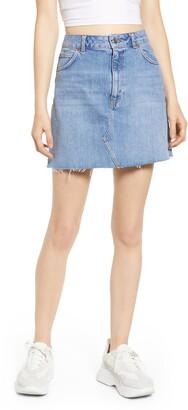 Topshop Moto Frayed Hem Miniskirt