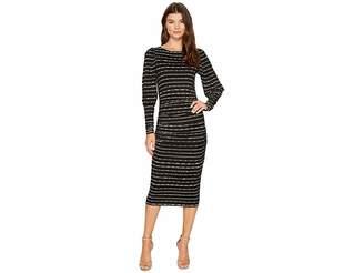 Nicole Miller Elizabetta Dotted Stripes Long Sleeve Jersey Dress Women's Dress
