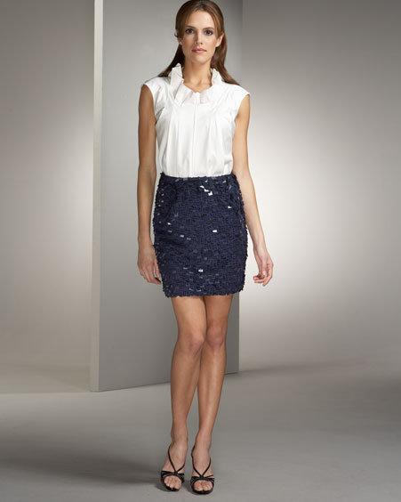 Lela Rose Paillete Mini Skirt