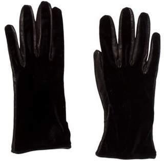 Saint Laurent Velvet & Leather Gloves