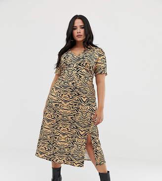 Asos DESIGN Curve animal print midi tea dress in rib aebb07ea7