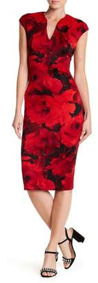Connected Apparel Floral Cap Sleeve Dress