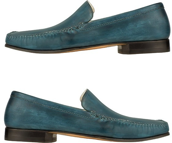Pakerson Petrol Blue Italian Handmade Leather Loafer Shoes
