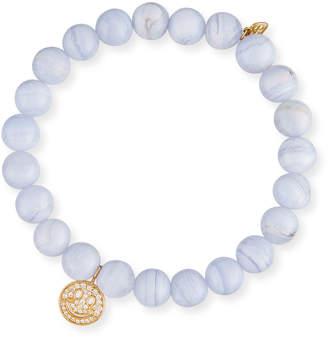 Sydney Evan Anniversary Blue Lace Agate Beaded Bracelet with Diamond Smiley Charm