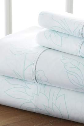 IENJOY HOME Home Spun Premium Ultra Soft Vine Pattern 4-Piece California King Bed Sheet Set - Aqua