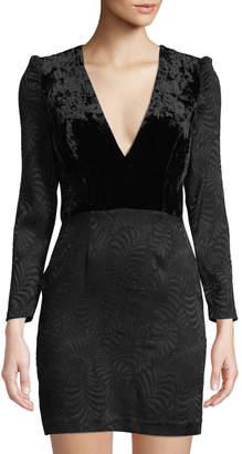 Free People Velvet-Bodice Long-Sleeve Jacquard Mini Dress, Black