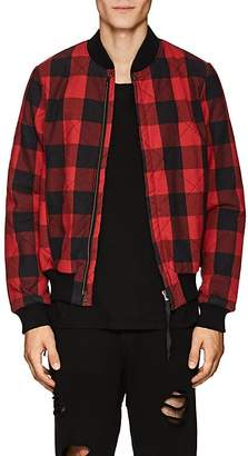 NSF Men's Checked Cotton Flannel Bomber Jacket