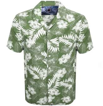b7c46d3e3beafc Pretty Green Short Sleeve Floral Shirt Green