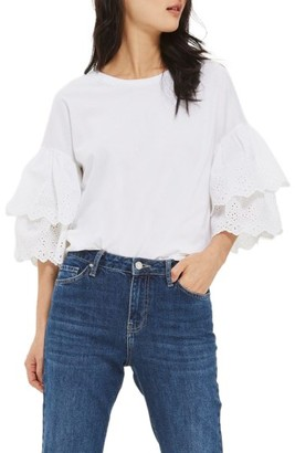 Women's Topshop Eyelet Layer Sleeve Tee T-Shirt $45 thestylecure.com
