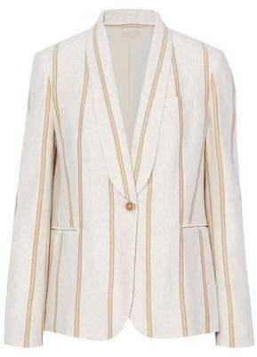 Brunello Cucinelli Metallic Striped Cotton-Jersey Blazer