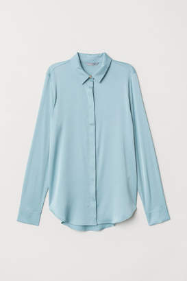 H&M Long-sleeved Blouse - Turquoise