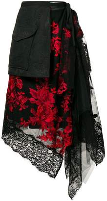 Antonio Marras flower embroidered asymmetric skirt