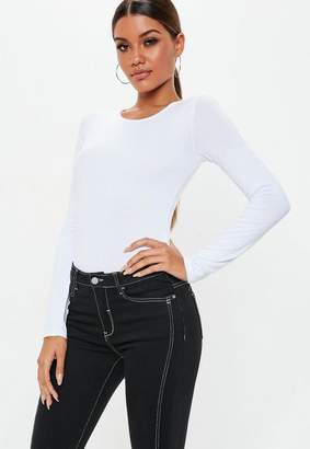 Missguided White Crew Neck Long Sleeve Jersey Bodysuit