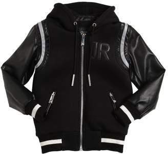 John Richmond Faux Leather & Neoprene Padded Jacket