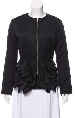 Elisabetta Franchi Ruffle-Accented Collarless Jacket