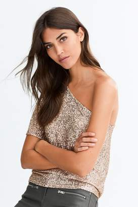 Next Womens Rose Gold Sequin One Shoulder Top - Grey