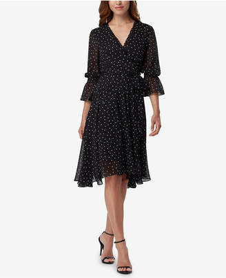 Tahari Asl Dot-Print Faux-Wrap Dress