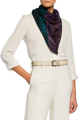 Etro Bi-Color Paisley Silk-Cashmere Shawl