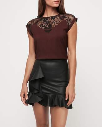 Express Super High Waisted Vegan Leather Ruffle Mini Skirt