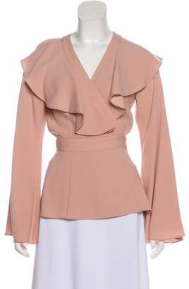 Co Ruffle-Trimmed Wrap Top