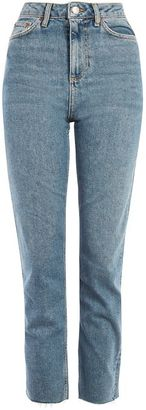 Topshop Moto mid blue straight leg raw hem jeans