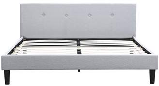 San Francisco Queen Bed Frame | Upholstered Low Profile Headboard + Platform Bedframe | Gray Linen Modern Style Silver Grey Cloth Bedroom Mattress Furniture + Soft Wood Footboards